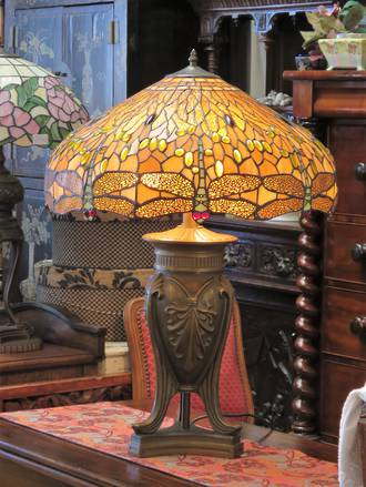 In The Spirit of Tiffany - Huge Hand-Made Lead-light Table Lamp $850