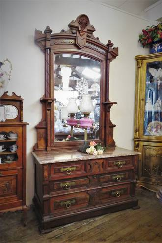 Victorian Marble Topped Walnut Dressing Table $3250