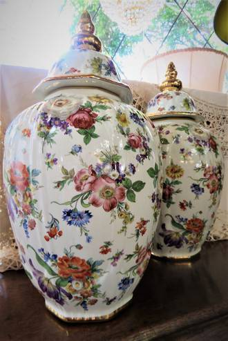 Fancy English Porcelain Lidded Urns $750.00 pair