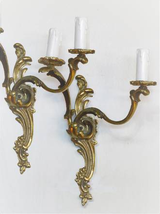 Pair of Original French Gilded Brass Rococo Revival Wall Brackets $950