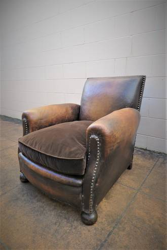 English Leather Gentleman's Club Chair 1930's $1750