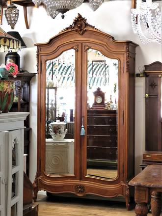 French Antique Armoire - Ornate Full Length Mirrored  Wardrobe $3950.00