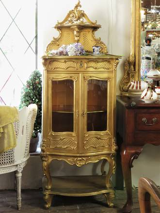 French Rococo Style Gilt Vitrine Glazed Display Cabinet SOLD