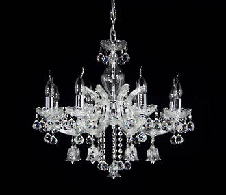 "Medium Crystal Bell Chandelier 23""  8 arm $2500"