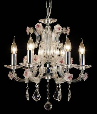 French Crystal Chandelier with hand blown Cranberry Glass Florets $1750.00