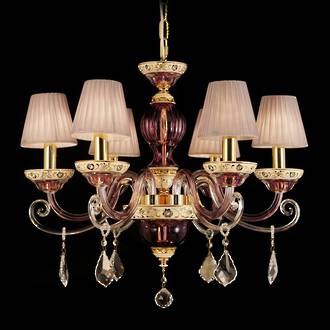 Cranberry French Chandelier with Pleated Shades $2750.00 2 available