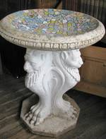 Antique Mosaic Birdbath with Concrete Lion Base