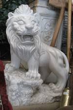 Pair of Entranceway Marble Lions