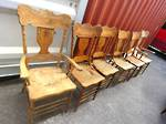 Set of Antique Spindle Back Dining Chairs, Unusual Style, includes Carvers