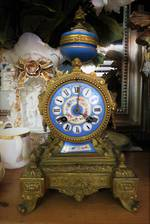 French Antique Gilt Bronze & Porcelain Clock $2950