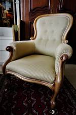 Antique English Walnut Button-Back Grandfather Armchair With Silk Brocade $1595