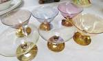 Venetian Glass  Desert set, Iridescent and Gold dipped.