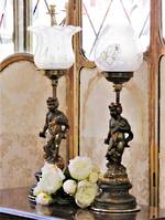 Edwardian Rococo Revival Cherub Kerosene Lamps - Converted into Electric