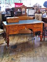 A Remarkable Antique Birch/ Leather Top Partners Desk $2250