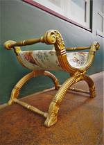 Antique Gilt Banquette Bench or Stool - Italian silk $950