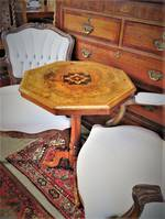 Antique English Burr Walnut Marquetry Wine table or side table $950