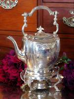 Early Engraved Silver Plate Spirit Kettle