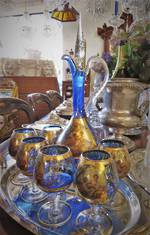 Stunning Vintage Cobalt Blue Gllt Decorated Bohemian Glass Decanter Set SOLD