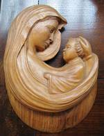 Carved Wood Madonna & Child Religious Icon