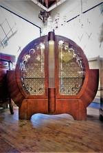 Classic Walnut Art Deco Circular Drinks or China Cabinet