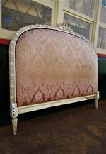 French Provincial Antique Silk Brocade Buttoned Queen Headboard Bed Head
