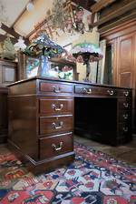 English Mahogany Twin Pedestal Leather Topped Desk $2500