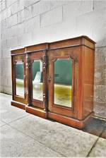 Victorian Baby Credenza - Inlaid Walnut, Marble Top, Mirrored Front SOLD