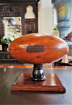Antique Carved Kauri Trophy Rugby Ball or Football $450