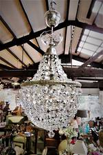 Antique Crystal Basket Chandelier $1950