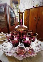 Antique Venetian Glass Decanter 8 piece set