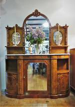 Antique Continental Credenza with Inlaid Veneer & Marble Top Sold