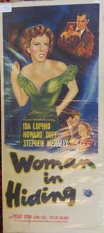 """Woman in Hiding"" Genuine Vintage Movie Poster Day Bill"