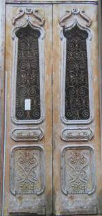 Large Antique Door with Wrought Iron Grille $5250 pair
