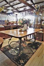 Spanish Dining Table With Heavy Wrought Iron Decorative  Base $2250