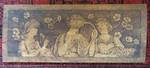 Art Nouveau Poker Work Wood Panel, Young Beautiful Ladies