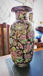 Large Chinese Hand-Painted Porcelain Vase with Gilt Highlights $295