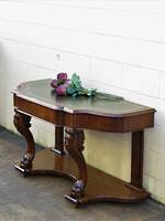 Victorian Mahogany Leather Top Console,  Hall Table, Desk $2250