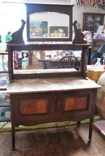 Antique New Zealand Kauri Marble topped Wash stand with Mirrors $1595.00