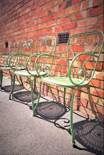 French Provincial Style Green Painted Cafe Chairs $1100 set of 4
