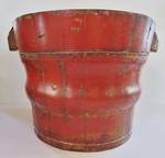 Antique Chinese Painted Wood Pail or Bucket