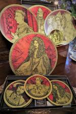 Vintage Boxed Place mat & Coaster Set- Metallic Red & Gold Tudor Portraits