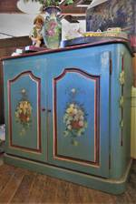 1920's French Hand-Painted Shabby Chic Sideboard Cupboard $2250