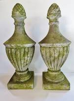 Moss covered Concrete Finial Garden Ornaments (reproductions)