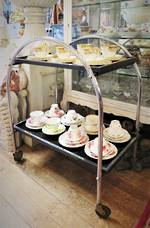 Art Deco Crome & Black Glass Drinks Trolley $750