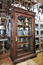 Substantial Victorian Mirror Backed Vitrine Display Cabinet $3500