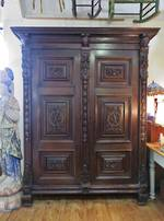 Early Oak French Armoire, Fully Carved $5250