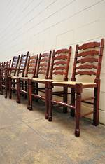 Extraordinary 10 piece Set Lancashire Ladder Back Dining Chairs inc Carvers $3700