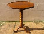 Early Walnut Side Table with cotton reel pedestal base