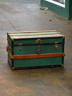 Painted Antique Luggage Trunk, Metal & Wood Bound $350