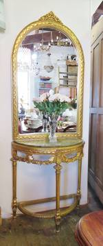 French Console Table, Marble top, Gilt Base, Large Mirror $2500